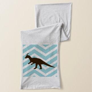シェブロンのジグザグ形の恐竜-青および白 スカーフ