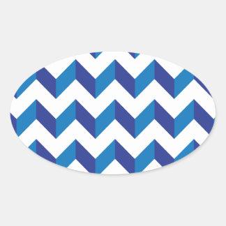 シェブロンのジグザグ形の青 楕円形シール