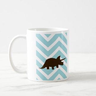 シェブロンのジグザグ形のRhinosaur -青および白 コーヒーマグカップ