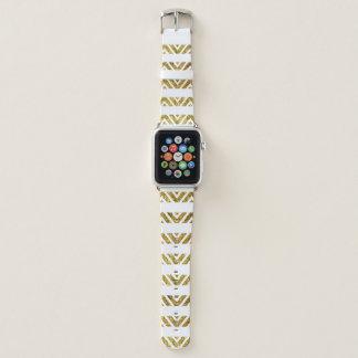 シェブロンのストライプな金ゴールドのAppleの時計バンド42MM Apple Watchバンド