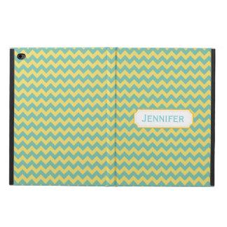 シェブロンのティール(緑がかった色)および黄色くカスタムなiPadの箱 Powis iPad Air 2 ケース
