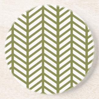 シェブロンのドラブの緑の織り方 コースター