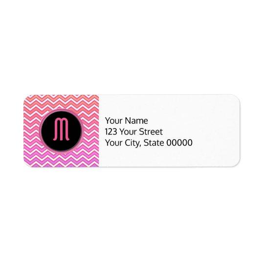 シェブロンのピンクの紫色のモノグラム 返信用宛名ラベル