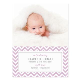 シェブロンのモダンな誕生の発表 ポストカード