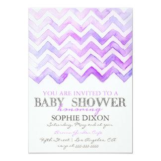 シェブロンの水彩画のベビーシャワーのパーティの招待状 カード