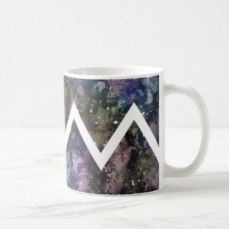 シェブロンの水彩画の星雲のマグ コーヒーマグカップ
