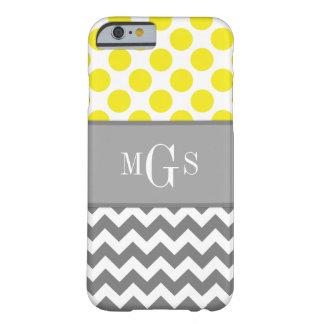 、シェブロンの水玉模様のiPhone6ケース黄色および灰色 Barely There iPhone 6 ケース