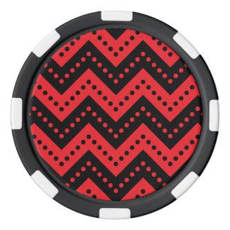 シェブロンの水玉模様7の赤 ポーカーチップ