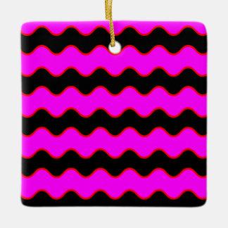 シェブロンの波状のジグザグ形は縞で飾ります セラミックオーナメント