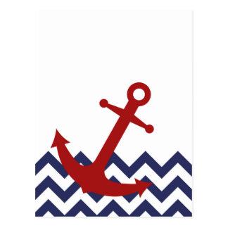 シェブロンの海の赤いいかり ポストカード