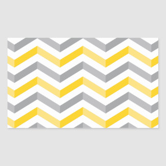 シェブロンの灰色および黄色のストライプ 長方形シール