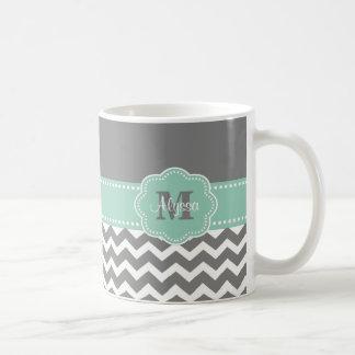 シェブロンの灰色の真新しい緑の名前入りなマグ コーヒーマグカップ