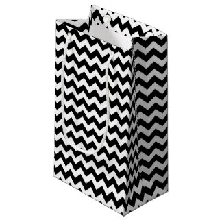 シェブロンの白黒ストライプ スモールペーパーバッグ