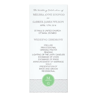 シェブロンの真新しい緑の結婚式プログラム カード