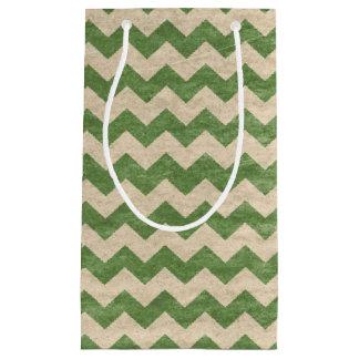 シェブロンの緑の素朴なギフトバッグ スモールペーパーバッグ