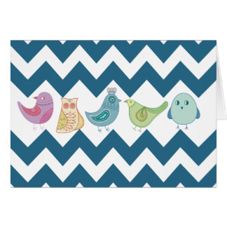 シェブロンの青いストライプのお洒落でかわいい鳥のフクロウ カード