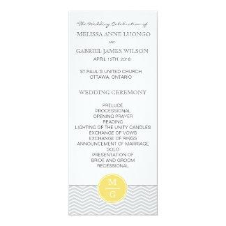 シェブロンの黄色い結婚式プログラム カード