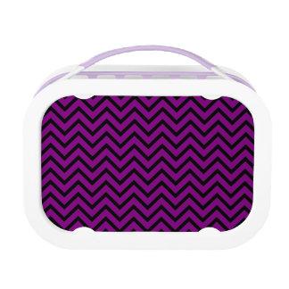 シェブロンの黒いおよび紫色のランチボックス ランチボックス