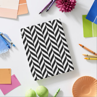 シェブロンの黒く及び白くモダンなiPadの頭が切れるなカバー iPadスマートカバー