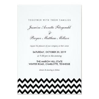 シェブロンエレガントで黒いパターンモダンな結婚式 カード