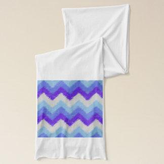 シェブロンガーリーで青および白いボヘミアのパターン スカーフ