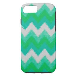 シェブロンガーリーな緑および白いボヘミアのパターン iPhone 8/7ケース