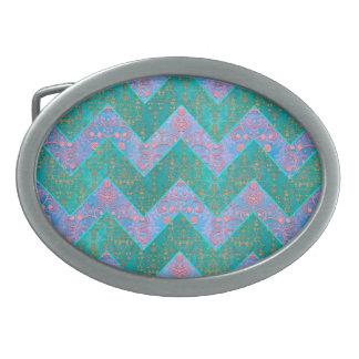 シェブロンパターンターコイズの紫色の青いダマスク織 卵形バックル