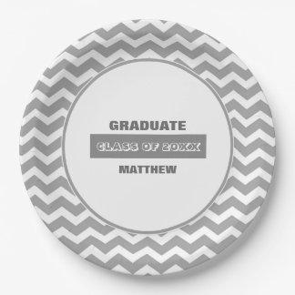 シェブロンパターン卒業パーティーの紙皿 ペーパープレート