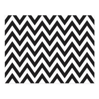 シェブロンパターン白黒の幾何学的な芸術のデザイン ポストカード