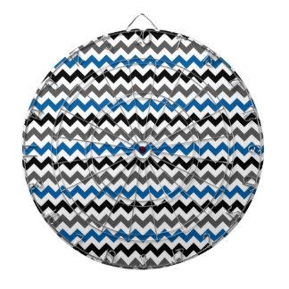 シェブロンパターン背景のブルーグレーの白黒 ダーツボード