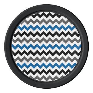 シェブロンパターン背景のブルーグレーの白黒 ポーカーチップ