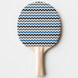 シェブロンパターン背景のブルーグレーの白黒 卓球ラケット