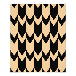 シェブロンベージュおよび黒いパターン 11.4CM X 14.2CM チラシ