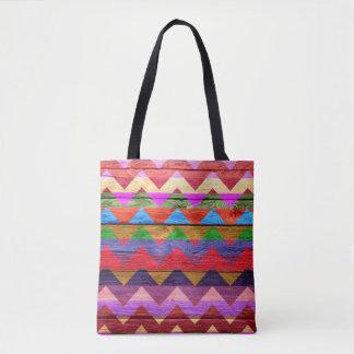 シェブロンモダンな木製のカラフルなパターン#12 トートバッグ