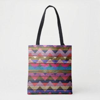 シェブロンモダンな木製のカラフルなパターン#15 トートバッグ