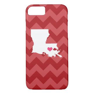 シェブロン名前入りでモダンで赤いルイジアナのハート iPhone 8/7ケース