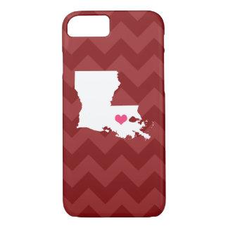 シェブロン名前入りでモダンなあずき色のルイジアナのハート iPhone 8/7ケース