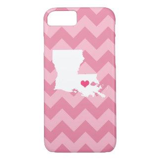 シェブロン名前入りでモダンなピンクのルイジアナのハート iPhone 8/7ケース