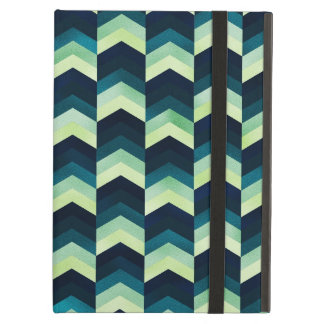 シェブロン濃紺および緑のパターン iPad AIRケース