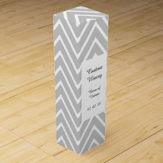 シェブロン灰色および白いパターン2 ワインギフトボックス