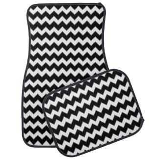 シェブロン白黒パターン カーマット