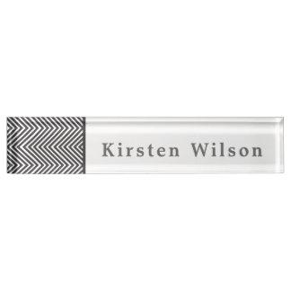 シェブロン白黒抽象的なパターン デスクネームプレート