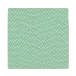 シェブロン真新しい緑の白いパターン2A ウッドコースター