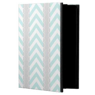 シェブロン真新しく青、灰色、白いストライプなパターン POWIS iPad AIR 2 ケース