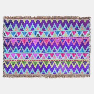 シェブロン種族のアステカなネオン紫色のピンク毛布 スローブランケット