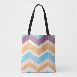 シェブロン粋な紫色のオレンジ及び青のパターン トートバッグ