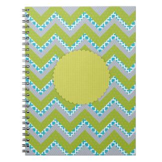 シェブロン緑、青及び灰色のジャーナル ノートブック