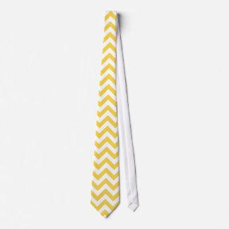 シェブロン黄色く白いパターン オリジナルネクタイ
