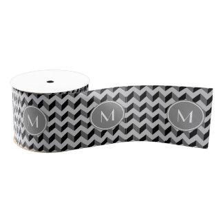 シェブロン黒いおよび灰色のパターン グログランリボン