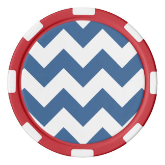 シェブロン1明るいコバルト ポーカーチップ
